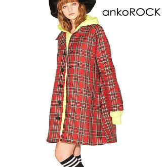 ankoROCK安共锁头原宿系的外衣大衣十彩色大衣男子的女子的大的尺寸大的轮廓彩色方格图案检查红