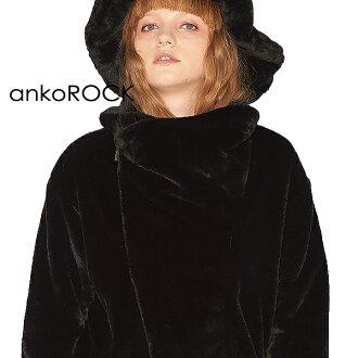 ankoROCK安共锁头原宿系的外衣骑手茄克人分歧D双打轮圈紧凑的短长短毛皮方式黑色黑