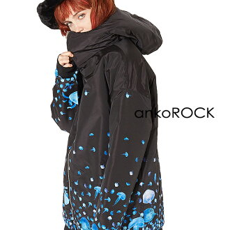 ankoROCK安共锁头原宿系的外衣羽绒服茄克人分歧D音量颈大的尺寸大的轮廓长长海蜇
