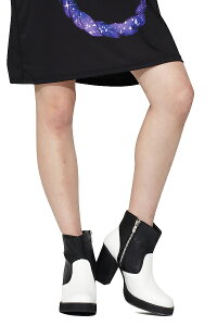 ankoROCKアンコロックヒールブーツメンズレディースユニセックスブーツ靴くつクツヒールシューズショートヒールブーツモノトーンブラックホワイト黒白