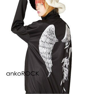 The size big silhouette back print black wing which is big in clothes winter clothes long sleeves in the fall and winter in autumn of ankoROCK bean jam lock jersey tops outer men gap Dis Harajuku origin