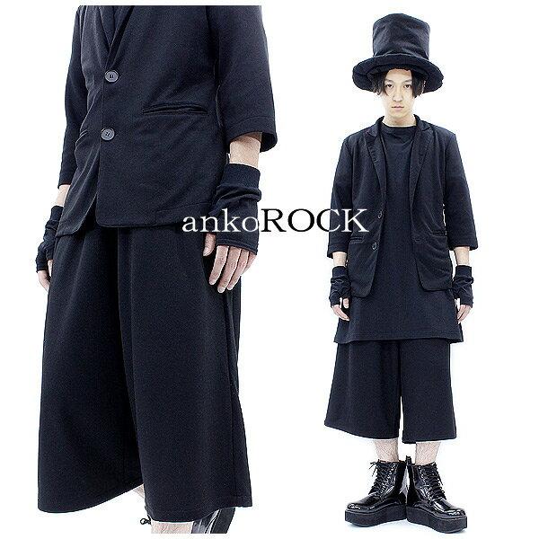 ankoROCK アンコロック スーツ メンズ スーツ レディース 半袖 セットアップ ハーフパンツ 上下セット 黒 ブラック