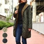 アンルルレディースファッションゆったり40代30代秋冬アウターボアキルティングブルゾンコートフード体型カバー裏ボア