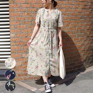 ワンピース 春 夏 レディース ファッション 半袖 花柄 ロングワンピース 30代 20代 前開き カジュアル きれいめ 可愛い 体型カバー プチプラ
