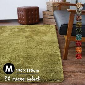 【在庫処分】ラグ ラグマット カーペット 絨毯 じゅうたん おしゃれ 洗える 滑りにくい オールシーズン 床暖房・HOTカーペット対応 グリーン 北欧 リビング アンミン / EXマイクロセレクト 190×190cm