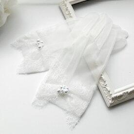【売れてます】【超良い品質】【日本製の上質な肌触りのグローブ 】ウェディング グローブ ショートグローブ レース オーガンジー 結婚式 ウエディング