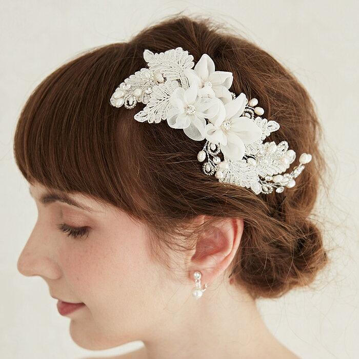 【花嫁レース刺繍と白花】【繊細な職人手作り仕上げ】ヘッドドレス ウェディング