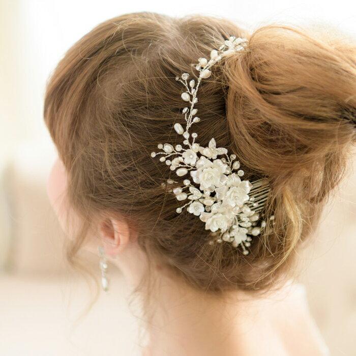 【可憐なバラに胸キュン】【4WAYの自在なヘアアクセサリー】ヘッドドレス 髪飾り ウェディング ヘッドドレス ビジュー