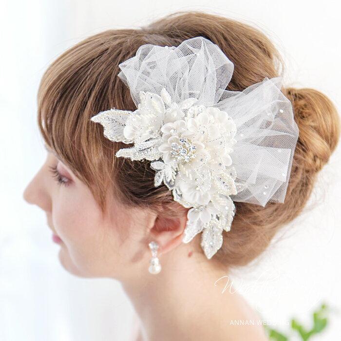 ヘッドドレス 髪飾り ヘッドドレス チュール  ウェディングヘッドドレス 花