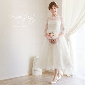 a27cd78d2e7ae  ロマンティックミモレ丈  アンティーク風レース ウエディングドレス ミモレ 二次会 花嫁ドレス