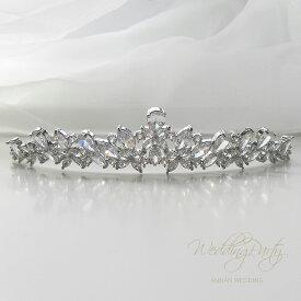 【ダイヤの様に輝くティアラ】【ビッグビジューが華やか】ティアラ ウエデイング パールティアラ ジルコン 結婚式 ウエディングパール 海外挙式 パーティー ブライダル tiara ティアラ  ウエディングティアラ ST06