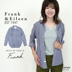 【Frank&Eileen/フランクアンドアイリーン】ネイビーチェックシャツ Frank 2910700308 コットン Navy Check, Classic Italian Poplin