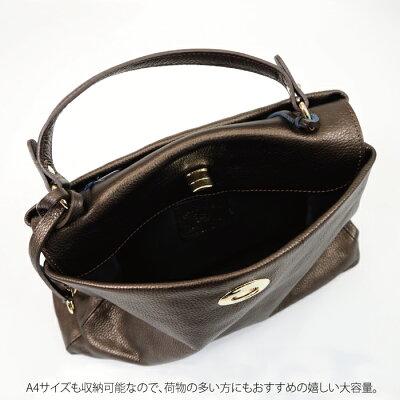 【ASHELEN/アッシュエレン】アシュエレンメタリックレザーバッグハンドバッグ/フランス企画・イタリア生産/MadeinItary