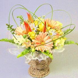 スプリング花 ギフトお返し チューリップと春の花のアレンジ「萌黄」【即日配送】歓迎 送迎 ホワイトデー 卒業 お祝い