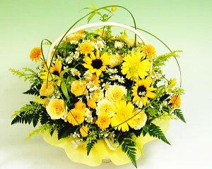 【あす楽16時まで受付】 黄色のキラキラアレンジ【あす楽対応】【バスケットアレンジ】タイムセール
