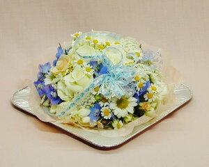 【あす楽16時まで受付】【お誕生日】フラワーケーキ ホワイトブルー バラ 【あす楽対応】