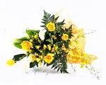 【お中元・サマーギフト】爽やかな黄色の花束カラーと黄バラ、オンシジウム