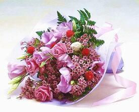 【あす楽16時まで受付】【お誕生日の花束】バラとトルコ桔梗のエレガントブーケお中元