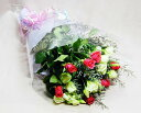 【季節のお花・花束】濃いピンクバラとトルコ桔梗花束【楽ギフ_メッセ】【楽ギフ_包装】