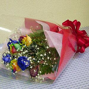 【スーパーSALE期間中5倍】誕生日 ギフト レインボーローズ 虹色のバラと青いバラの夢のブーケ 結婚祝い 結婚記念日