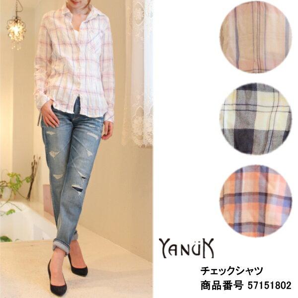 ヤヌーク セール SALE 20%OFF チェックシャツ YANUK 送料無料 楽天カード分割
