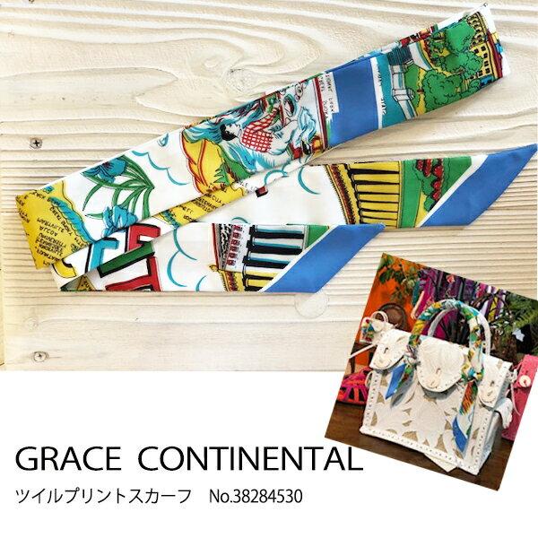 グレース グレースコンチネンタル ツイルプリントスカーフ, GRACE CONTINENTAL 18SS 送料無料 38284530