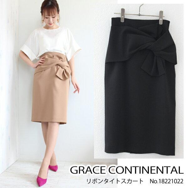 グレース グレースコンチネンタル リボンタイトスカート,スカート,ボトムス,GRACE CONTINENTAL 18SS 送料無料 18221022