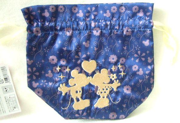 ディズニー ゴールド刺繍 巾着 ミッキー &ミニーマウス シルエット
