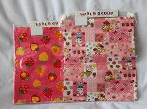 給食袋 巾着 M ランチクロス セット FB 06 いちご チェック柄 入園入学 日本製
