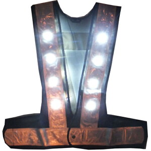 LED安全ベスト・白点滅/白点灯切替(紺銀・白再起反射シート6cm巾/フリーサイズ)