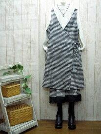 予約販売♪10日間デリバリーコットン黒白ギンガム・千鳥・カシュクール・ワンピースM〜5L