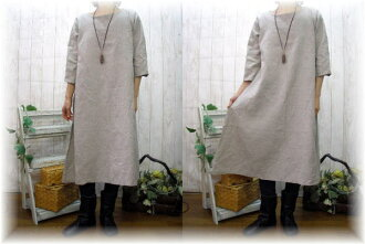 Made in Japan ♪ book sale ♪ linen and フレアーワン piece M-6 L black, off-white, charcoal grey