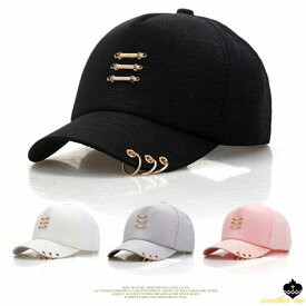 帽子 レディース キャップ ロゴ サーキュラーバーベル ピアス リング キャップ帽子 ダンスキャップ おしゃれ 野球帽 ベースボールキャップ かわいい シンプル 男女兼用