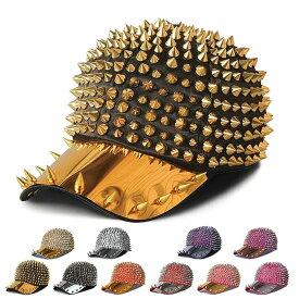 キャップ レディース メンズ 女の子 帽子 トゲトゲ スタッズ ダンス衣装 ヒップホップ エナメル ゴールド シルバー