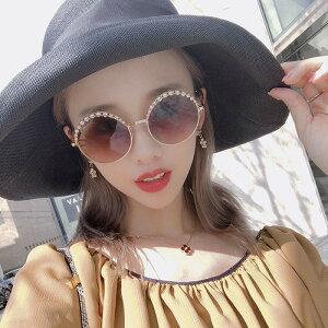サングラス レディース ビジュー パールサングラス ラウンド メガネ 韓国 ファッション 女性 セクシー おしゃれ かわいい かっこいい