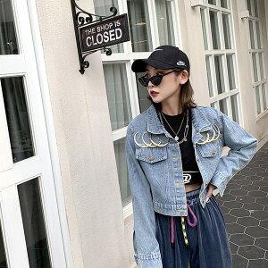 デニムジャケット レディース アウター 韓国ファッション Gジャン ジージャン クラッシュデニム オーバーサイズ 大きめ 大きいサイズ ダメージデニム おしゃれ かわいい