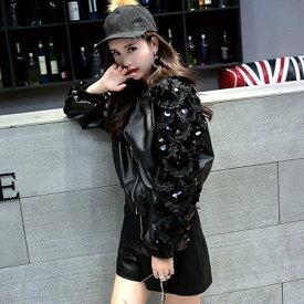 レザージャケット ブルゾン レディース 韓国ファッション オーバーサイズ 大きめ 大きいサイズ スパンコール ラメ かわいい おしゃれ ブラック 黒