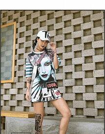 ダンス 衣装 ヒップホップ ダンス 衣装 トップス レディース フェイス アバターtシャツ tシャツ 目立つ 大きいサイズ 大きめ