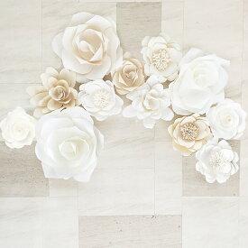 ジャイアントフラワー 手作りキット 12点セット ベーシック カラーミックスセット 結婚式やパーティーに! たくさん貼って華やかなウォールデコに ペーパーフラワー ジャンボ 飾り付け ウォールフラワー 紙 壁
