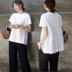 Tシャツ レディース 半袖 無地 カジュアル かわいい 白 送料無料 ギャザー プリーツ おしゃれ xl 大きいサイズ カットソー チュニック 綿 コットン 黒 オフィス 夏 父の日