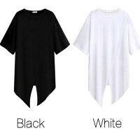 ディープスリットロングTシャツレディースホワイトブラックアシンメトリースリット黒白涼しい半袖薄手五分袖ワンピース半袖ゆったりtシャツワンピ無地アウトドアおしゃれ大きいサイズかっこいい運動会