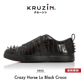 【送料無料】KRUZIN クルージン メンズ Crazy Horse Lo Black Croco / キラキラ ゴールド ラメ スタッズ マイアミ発 ラグジュアリー スニーカー ファッション アメリカ ドバイ パリ