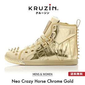 【送料無料】KRUZIN クルージン メンズ レディース Neo Crazy Horse Chrome Gold / キラキラ ゴールド ラメ スタッズ マイアミ発 ラグジュアリー スニーカー ファッション アメリカ ドバイ パリ