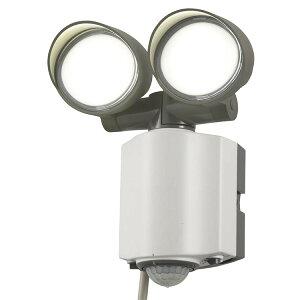 ledセンサーライト 屋内 ledライト 2灯 1200lm コンセント式 センサー フットライト LEDライト ダミーカメラ 防犯 不審者を威嚇 人感 明暗 センサー 防水 屋外 クランプ式 オーム電機