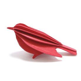 【メール便対応可】Lovi ロヴィ BIRD バード 12.5cm ブライトレッド BI125-BR グリーティングカード おしゃれ かわいい 赤 鳥 カード オブジェ メッセージカード ポップアップ ウッド 木製 立体 多目的 置物 北欧デザイン フィンランド 誕生日 結婚祝い 出産祝い 引越し祝い