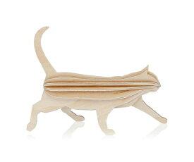 【メール便対応可】Lovi ロヴィ CAT キャット 12cm ナチュラルウッド CA120-NW グリーティングカード おしゃれ かわいい ブラウン ベージュ 猫 ねこ カード オブジェ メッセージカード ポップアップ ウッド 木製 立体 多目的 置物 北欧デザイン