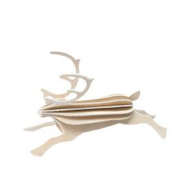 【メール便対応可】Lovi ロヴィ REINDEER レインディア 12cm ナチュラルウッド RE120-NW グリーティングカード おしゃれ かわいい ベージュ 鹿 トナカイ カード オブジェ メッセージカード ポップアップ ウッド 木製 立体 多目的 置物 北欧デザイ
