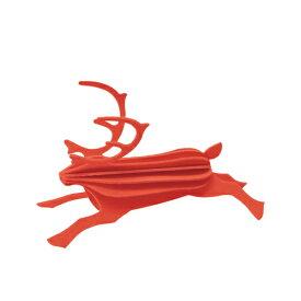 【メール便対応可】Lovi ロヴィ REINDEER レインディア 8cm ブライトレッド RE80-BR グリーティングカード おしゃれ かわいい 赤 鹿 トナカイ カード オブジェ メッセージカード ポップアップ ウッド 木製 立体 多目的 置物 北欧デザイン フィンランド 誕生日 結婚祝い 出産