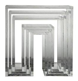 アボード ネスティングテーブル 3個セット クリア リビングテーブル おしゃれ かわいい abode オーディオ 机 デスク テレビ台 棚 テーブル 収納 ベンチ 収納 いす 椅子 イス チェア デザイナーズ家具 デザイン モダン シンプル 北欧スタイル 誕生