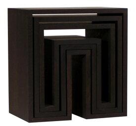 アボード ネスティングテーブル 3個セット ダーク リビングテーブル おしゃれ かわいい abode オーディオ 机 デスク テレビ台 棚 テーブル 収納 ベンチ 収納 いす 椅子 イス チェア デザイナーズ家具 デザイン モダン シンプル 北欧スタイル 誕生